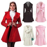 Cheap Wholesale-Women's Ruffle Falbala Warm Wool Blend Long Coat Jacket Outwear Overcoat Parkas