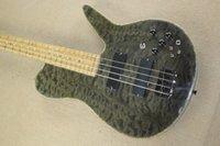 Wholesale Fodera Strings Black Qulit Maple Top Electric Bass Guitar Birds Eye Maple Fingerboard Active Pickups Abalone Body Binding Dot inlay