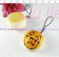 Others Others  Wholesale-Free face Squishy EmoticonBig Cell Phone Charm Simulation Bread Keychain Bag Pendant Strap Mixable US Direct Scented Kawaii JC28