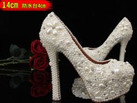 Cheap Chic 2015 Pearl Crystal White Diamond Wedding shoes Ultra High Heels Bridal Pageant Prom Ladies Shoes