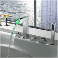 bath tub filler - mixer antique Luxurious New Arrival Waterfall led Tub Faucet bath Filler steel laundry tub