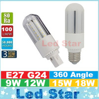 g24 cool achat en gros de-2016 Nouvelle conception PL Light LED Corn Light 9W 12W 15W 18W E27 G24 Ampoules LED CFL Lamp 360 Degree AC 110-240V