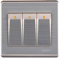 Wholesale KRST champagne brushed aluminum household wall switch socket dual control switch three open three pairs of control