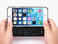 оптовых sliding wireless keyboard-iPhone 6 4.7inch Беспроводная клавиатура Bluetooth Тонкий жесткий пластмассовый выскользнуть крышка случая сотового телефона Клавиатура с подсветкой черный белый цвет
