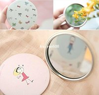 Wholesale Creative cute sweet hand Mirror portable pocket cosmetic mirror Japan Korean stationery
