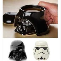 white ceramic mug - Drinkware Piece Star Wars Darth Vader Helmet Mug D Ceramic Stormtrooper Cup with Lid Cool Dark Roast Mug