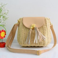 handbags in japan - New bohemian fringed bag beach bag straw bags rattan bag retro package casual fashion handbags in Japan