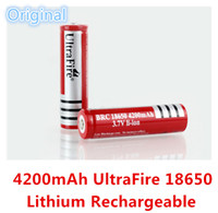 Wholesale High Quality Original Red UltraFire Real mAh V Lithium Rechargeable Batteries For LED Flashlight A E cig Battery Laser Cheap