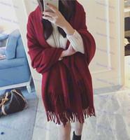 Wholesale Pure Color Tassel Women cashmere shawl Fashion Winter Autumn Warm Long Scarves