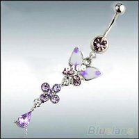 Wholesale Rhinestone Butterfly Ball Button Barbell Bar Belly Navel Ring Body Piercing
