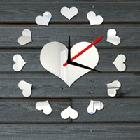 Wholesale DIY Loving Heart Wall Clock Sticker Set Mirror Effect Acrylic Glass Decal Home Decoration Removable Room Decar