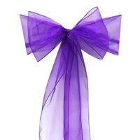 Wholesale 100 Pierces Dark Purple color Organza Sash Chair Cover Bow Banquet Wedding Party Decoration New