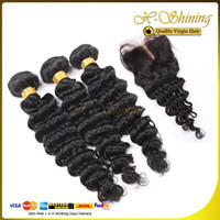 Wholesale 8A Brazilian Peruvian Malaysian Indian Hair Weaves and Closures Deep Wave Bundles Pieces Hair With Lace Closure Human Hair Weft Extension