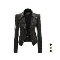 Wholesale S5Q Womens Slim Handsome Casual PU Soft Leather Zipper Long Sleeve Jacket Coat AAAFTF