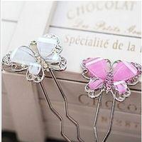 weathervane - Imitation alloy diamond hairpin Korean sweet lady butterfly shaped resin weathervane JWD41