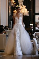 dresses new york - 2015 new designers white brand lace mermaid bride dress with long tail New York Festival wedding dress dress with detachable train