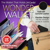 Wholesale New Wonder Wallet Amazing Slim RFID Wallets Black Leather Cards Casual Plain Wallets Good For Traveling With Logo Package