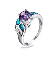big gem rings - Top Quality Silver Platinum Plating Rings AAA CZ Diamond Big Gem Amethyst Ring Wedding bridal jewelry bijouterie for women