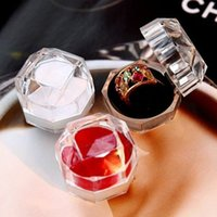 acrylic pc case diy - 3 Acrylic Crystal clear ring jewelry box plastic cosmetic finger ring box case portable storage diy bead stone tools