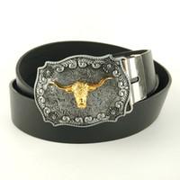 Wholesale Men fashion belts faux leather belt cm with metal western belt buckle Golden bull head cinto cowboy mens casual belt
