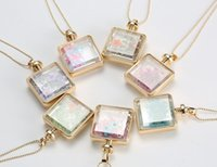 bottle necklace - 2015 new gold color suquare wishing bottle necklaces real natural air dried flowers perfume pendant necklace fashion jewelry freeshipping