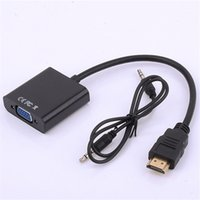 Wholesale HDMI to VGA with mm Jack Audio Cable Video Converter Adapter For Xbox PS3 PC Laptop DVD