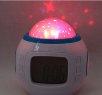 alarms holiday - Desktop Table Clocks Despertador Music Starry Star Sky Projection Alarm Clock Calendar Thermometer For Best Gift Relogio De Mesa