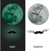 Wholesale Exclusive Glowing Wall Clocks Fashion cm DIY Acrylic Moustache Pendulum Moonlight Glowing Wall Clock Luminous Glow in the Dark home decro