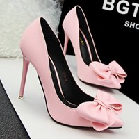 Wholesale Girls Fashon Sweet High Heels PU Leather Shallow Mouth Pointed Toe Princess Stiletto Shoes Girl Closed Toe Bow Pump Shoes EU35 cm Heels
