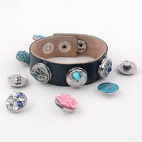 america leather bangle - Trendy selling lines style artistical elegant Europe and America bangle bracelet fit DIY snap alloy buttons