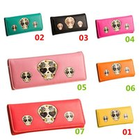 Wholesale New Arrivals Women s Lady s Punk Skull Wallets Long Hasp Clutch Coin Purses Card Holder PU Leather Size CM EG49 Free Shippin