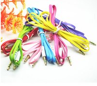 Wholesale 3 mm Aux Audio Cables Colorful Flat Male to Male Stereo Car Extension Audio Cable for Laptop MP3 Smartphone Car MP4