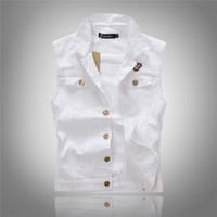 Wholesale Fall new arrival fashion mens denim vest jacket white casual vest Europena Style Denim Jeans Vest Sleeveless Jean Vest For Men