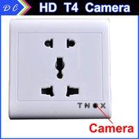 Wholesale Mini Hidden Socket Spy Camera T4 p Mini Hidden Socket DV DVR with Wireless Remote Control Mini Hidden Spy Camcorder