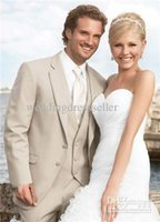 Wholesale Beach tuxedos for wedding Scholarly Handsome beige Wedding Mens Suits Tuxedos Bridal Groom Suits Jacket Pants Vest Tie