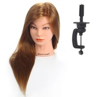 Wholesale Female Mannequin head model quot Real Hair Hairdressing Cosmetology Mannequin Manikin Training Head Model with Clamp golden color hair