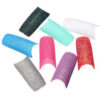 acrylic nails glitter designs - Colorful False Nail Art Tips French Acrylic Twinkle Slice Glitter Bling Fashion Manicure Fake Fingernails Design Tool