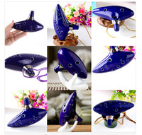 Wholesale Classical Musical Instrument Ceramic Ocarina Hole Kiln fired Ceramic Alto C Legend of Zelda Ocarina Flute with bag free shippiing A0208