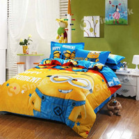 Wholesale Minions Bed Sets Cotton Bedding Set Quilt Cover Cartoon Despicable Me for Children Kids Gift Free DHL Factory Direct