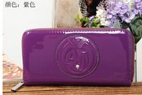 Wholesale patent leather zipper wallet restoring ancient ways is of high quality long wallet bag covering pure color wallet