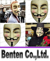 Wholesale Hot sale Halloween Mask V for Vendetta Mask Anonymous Guy Fawkes Fancy Dress Adult Costume Accessory Party Cosplay Masks LLFA4355F