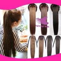 Wholesale 2015 New Fashion Women Hair Ponytails Drawstring Long Straight Hairpiece Synthetic Easy to wear High Ponytail Black Brown