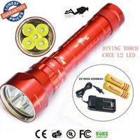 Swimming Pool DC White 2015 new SY-068 Diver 100m waterproof 5xCREE XML L2led diving flashlight 8000LM torch magnetic switch lanterna with 2x18650 battery+charger