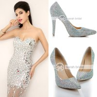 Wholesale New Rhinestone Crystal Pointed Toe Bridal Dress Shoes cm Stiletto Pumps Heels Multi color for Lady Office Prom Party Evening Wedding