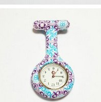 Wholesale Silicone Nurse Pocket Watch Candy Colors Zebra Leopard Prints Soft band brooch FOB Nurse Watch free ship
