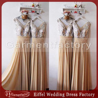 Wholesale Elegant Cheap Bridesmaid Dresses Under Shiny Sequins Top A Line Champagne Chiffon Bridesmaid Gowns In Stock Wedding Guest Dress