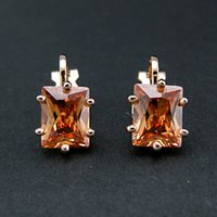 Wholesale Orange geometric Screw Back Clip earrings for women Austria crystal brand earring K gold plated jewelry