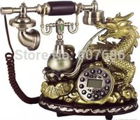 antique reproduction phones - Reproduction Retro Style Decorator Dragon Phone Wood Resin Metal Corded Telephone Classic Vintage Antique Craft Decor Free Ship
