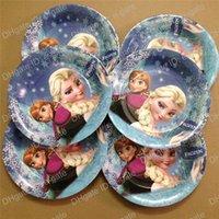 cake plates - Frozen Birthday Party Paper Plate Round cake plate supplies for children cartoon paper plate baby s Event party Supplies party favors