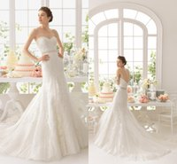 Wholesale Sweetheart Lace A Line Wedding Gowns Chapel Train Wedding Dresses Sash Beadings Covered Button Back Piping Bridal Dresses Y0921